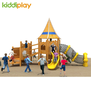 Happy Children Slide Small Wooden Outdoor Playground for Sale