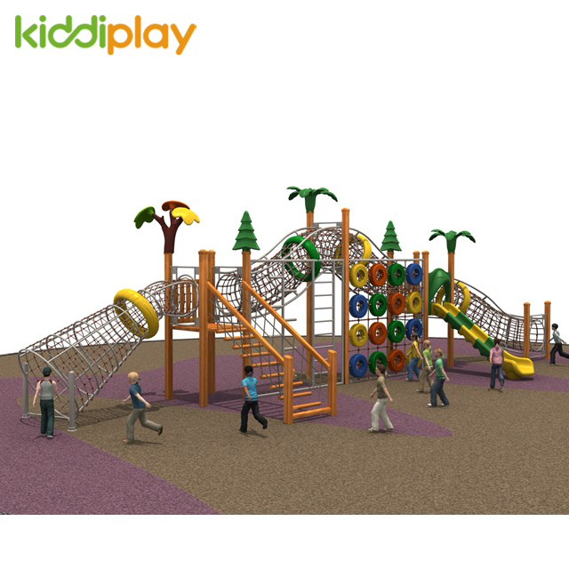 New Type Multiple Slides Wooden Series Climbing Outdoor Playground
