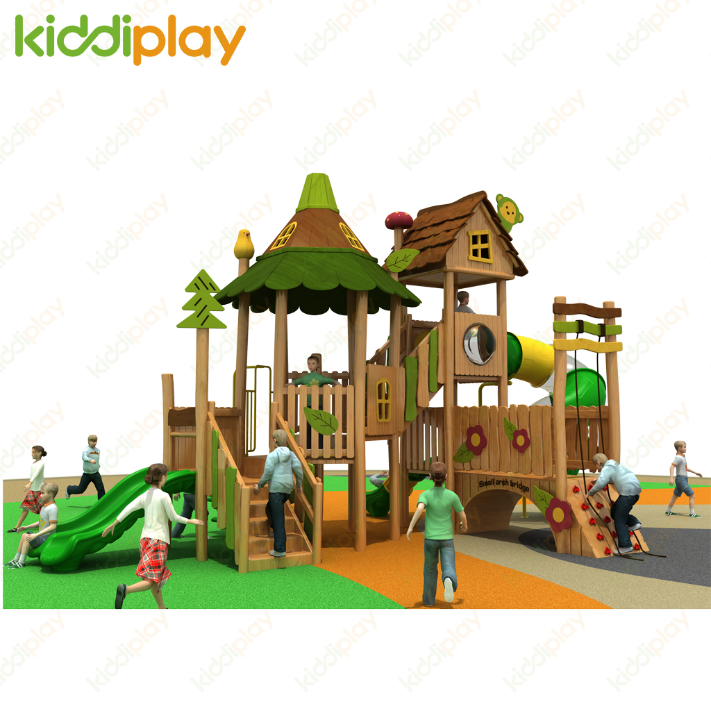 Wooden Playground Outdoor Rides Game Play House Slide Amusement Equipment for Kids