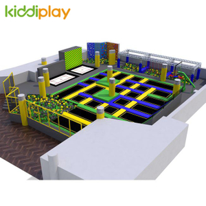 KD11068A Large Ninja Course Climbing Wall Basketball Area Foam Pit Trampoline Park