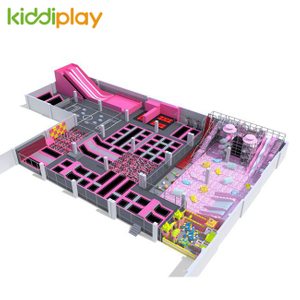 KD11051C Large And Hot Sale Free Jump Trampoline Play Center with Block Building
