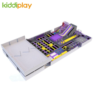 KD11069A Large Ninja Course Basketball Area Rainbow Scream Slide Trampoline Park